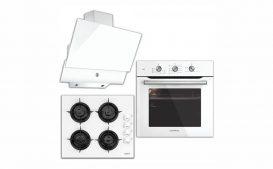 Luxell A6-Sf2Mt+Lx 40Ta-Hdf+Da6-830 Kristal Serisi Beyaz Cam Ankastre Set