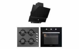 Luxell Kristal Serisi Siyah Cam Üç 3Lü Ankastre Set – 830