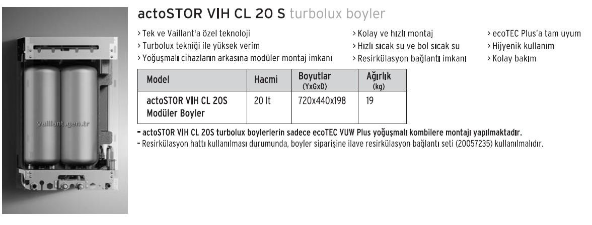 Vaillant Ecotec Plus Vuw TR 376/5-5 yoğuşmalı kombi ve actostor vıh cl 20s boyler paketi ( vuı 376/5-5 )